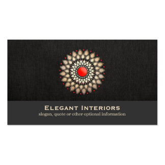 Elegant Gold and Red Motif Interior Designer Chic Pack Of Standard Business Cards