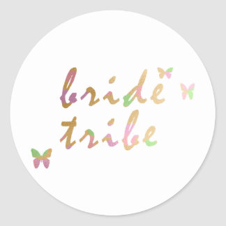 elegant gold and rose gold foil Bride Tribe Classic Round Sticker