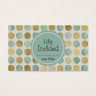 Elegant gold and watercolor dots business card