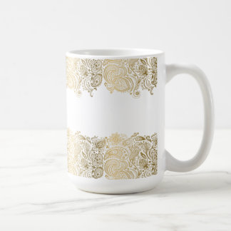 Elegant Gold And White Floral Paisley Coffee Mug