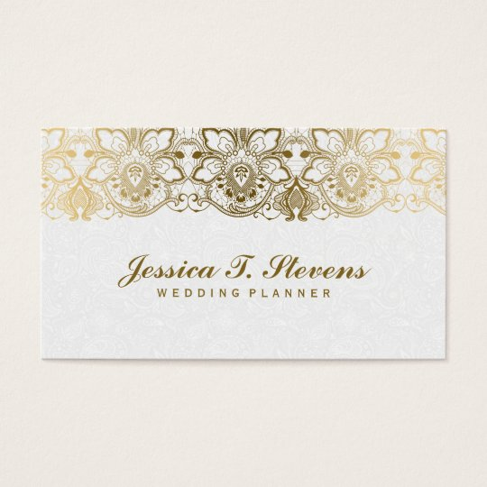 Elegant Gold And White Lace Wedding Planner Business Card