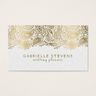 Elegant Gold And White Paisley 2 Wedding Planner