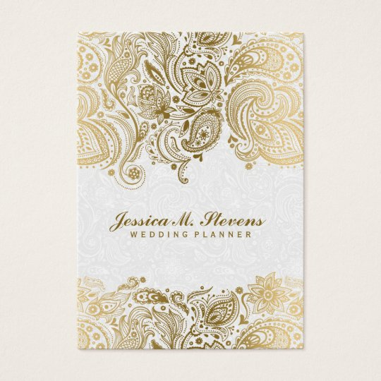 Elegant Gold And White Paisley 3 Wedding Planner