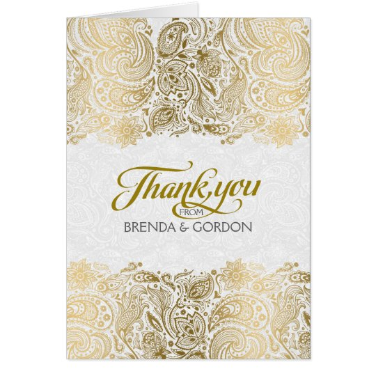 Elegant Gold And White Paisley Lace Card