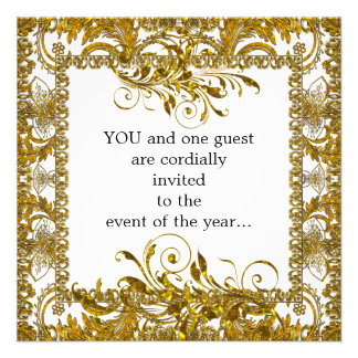 Elegant Gold and White Party Invitation