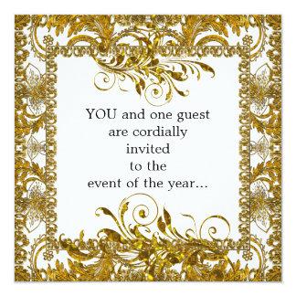 """Elegant Gold and White  Party Invitation 5.25"""" Square Invitation Card"""