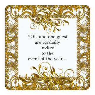 Elegant Gold and White Round Edge Personalized Announcement