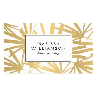 Elegant Gold and White Tropical Palm Fronds Business Card