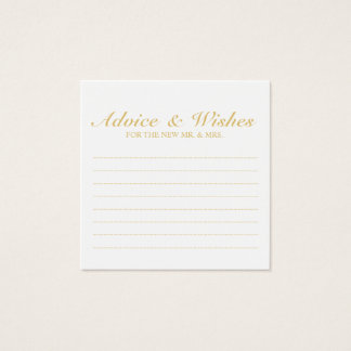 Elegant Gold and White Wedding Advice and Wishes Square Business Card