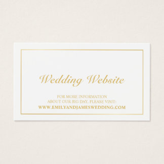 Elegant Gold and White Wedding Website Business Card
