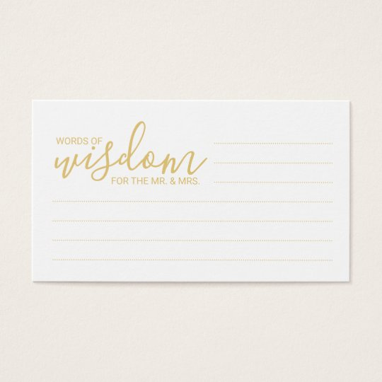 Elegant Gold and White Wedding Words of Wisdom Business Card