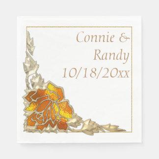 Elegant Gold Autumn Monogram Wedding Napkin Disposable Serviette