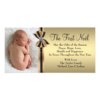 Elegant Gold Baby's First Christmas Card