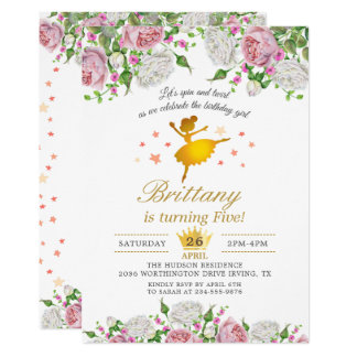 Elegant Gold Ballerina Floral Girl Birthday Party Card
