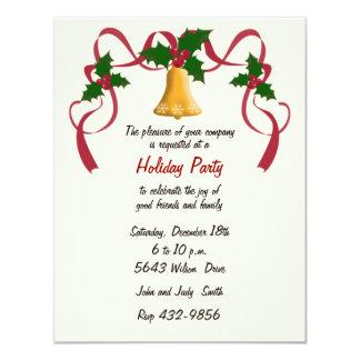 """Elegant Gold Bell Holiday Invitation 4.25"""" X 5.5"""" Invitation Card"""