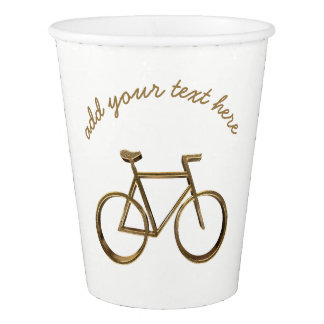 Elegant Gold Bike Bicycle Cycling Cyclist Paper Cup