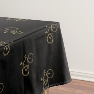 Elegant Gold Bike Pattern Bicycle Cycling Cyclist Tablecloth