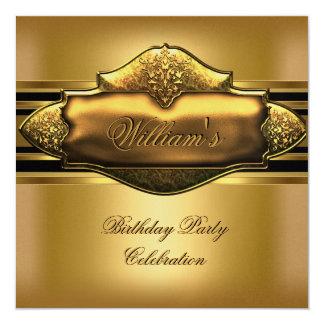 Elegant Gold Birthday Party Mens 60th 13 Cm X 13 Cm Square Invitation Card