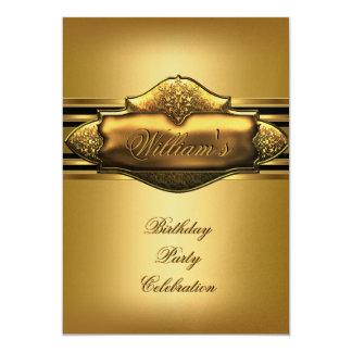 Elegant Gold Birthday Party Mens 60th 50th 40th 13 Cm X 18 Cm Invitation Card