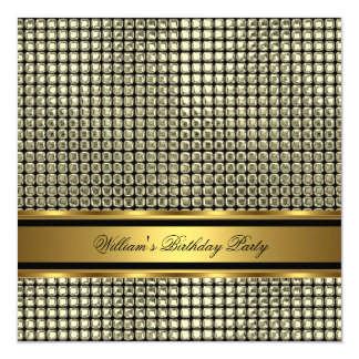 "Elegant Gold Birthday Party Mens Man 5.25"" Square Invitation Card"