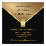 Elegant Gold Black 50th Birthday Party Invitations
