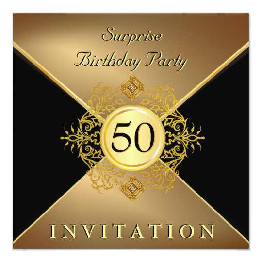 Elegant Gold Black 50th Birthday Surprise Party In