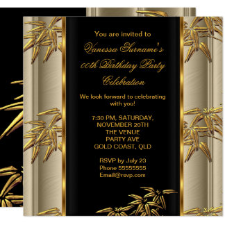 Elegant Gold Black Asian Bamboo Caramel Beige Card