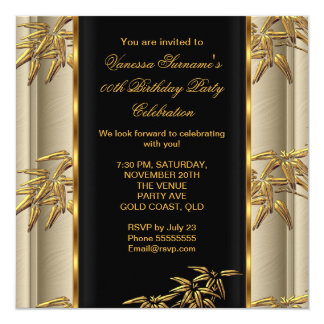 Elegant Gold Black Asian Bamboo Caramel Beige Card