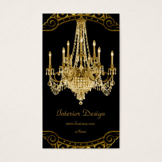 Elegant Gold Black Chandelier Interior Design Business Card