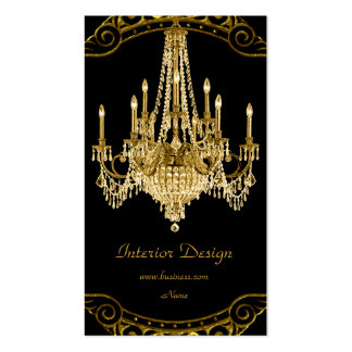 Elegant Gold Black Chandelier Interior Design Pack Of Standard Business Cards