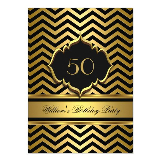 Elegant Gold Black Chevron Birthday Party Card