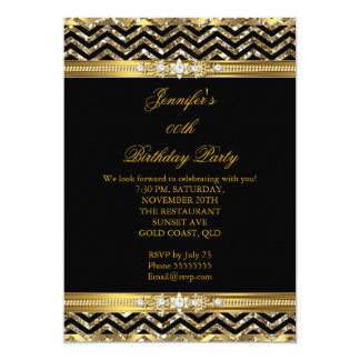 Elegant Gold Black Chevron Diamond Birthday 2 13 Cm X 18 Cm Invitation Card