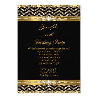 Elegant Gold Black Chevron Diamond Birthday 2 Card