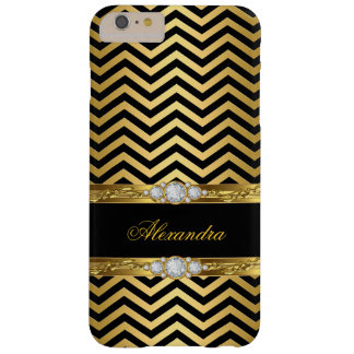 Elegant Gold Black Chevron Faux Diamond Gem Barely There iPhone 6 Plus Case