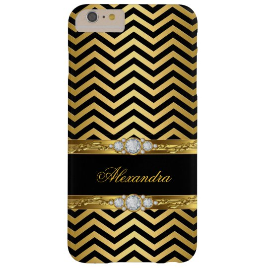 Elegant Gold Black Chevron Faux Diamond Gem Barely