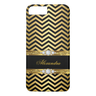 Elegant Gold Black Chevron Faux Diamond Gem iPhone 7 Plus Case