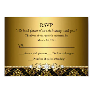 Elegant Gold & Black Damask RSVP Card