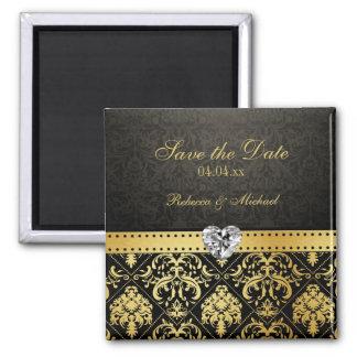 Elegant Gold & Black Damask Save the Date Magnet