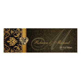 Elegant Gold & Black Damask Wedding Favor Tags Pack Of Skinny Business Cards