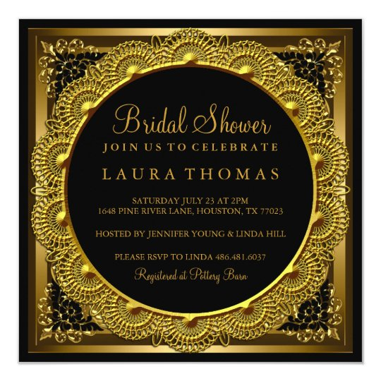 Elegant Gold & Black Doily Bridal Shower Invite