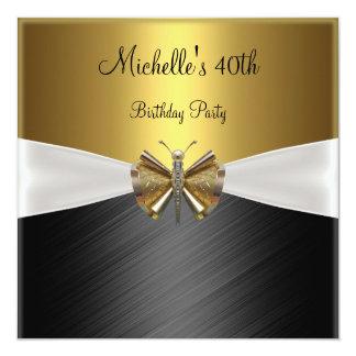 Elegant Gold Black Dragonfly 40th Birthday 13 Cm X 13 Cm Square Invitation Card