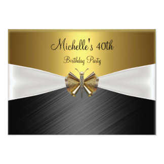 Elegant Gold Black Dragonfly 40th Birthday 13 Cm X 18 Cm Invitation Card