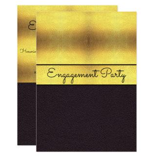 Elegant Gold & Black Engagement Card