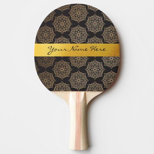 Elegant Gold Black Floral Mandala Pattern Ping Pong