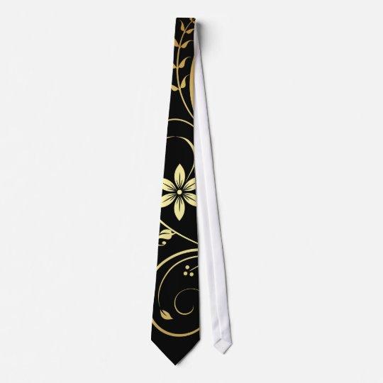 Elegant Gold & Black Floral Scroll Mens Tie