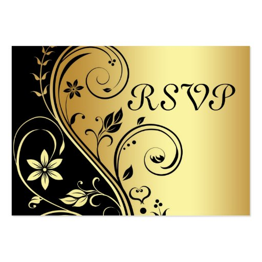 Elegant Gold & Black Floral Scroll  RSVP Card Business Card