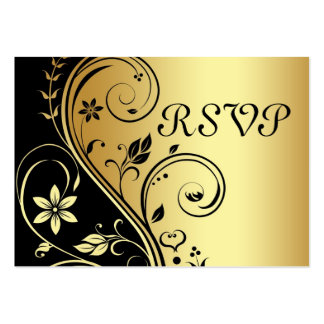 Elegant Gold & Black Floral Scroll  RSVP Card Pack Of Chubby Business Cards