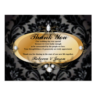 Elegant Gold black formal damask Wedding thank you Postcard