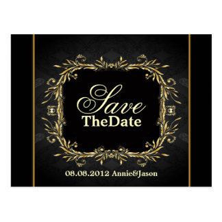 Elegant Gold black formal Wedding save the date Postcard