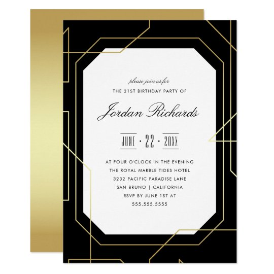 Elegant Gold & Black Geometric Birthday Party Card